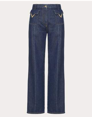 Valentino Jeans With Gold V Details