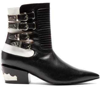 Toga Buckled Leather Ankle Boots - Womens - Black White