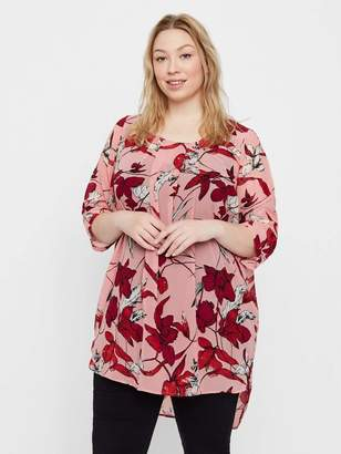 Junarose See-Through Floral Tunic Top in Blush Size 36
