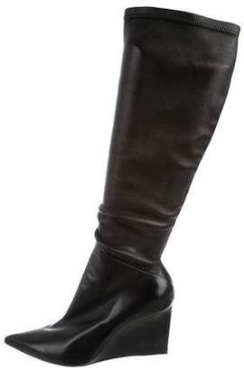 Balenciaga Leather Pointed-Toe Wedge Boots