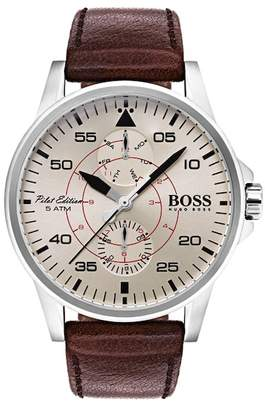 BOSS Men's Aviator Chrono Leather Watch, 44mm