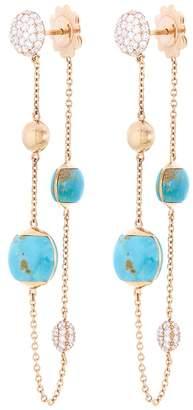 Roberto Coin Diamond turquoise chain drop earrings