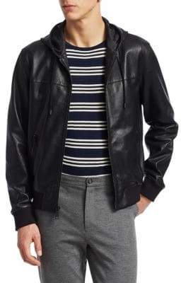 Saks Fifth Avenue MODERN Perforated Leather Jacket