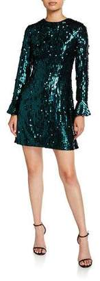 Aidan Mattox Sequin Long-Sleeve Mini Cocktail Dress