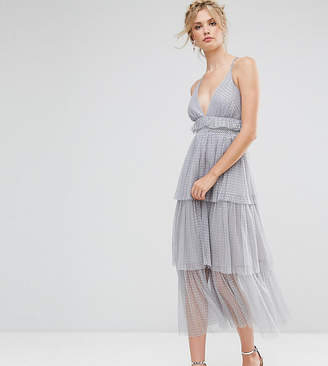 True Decadence Tall Premium Tulle Ruffle Layered Midi Dress With Strappy Back Detail