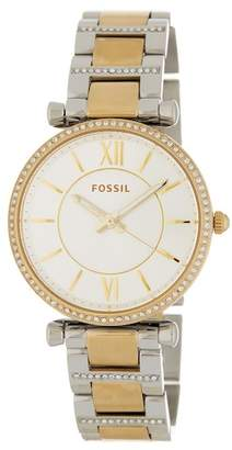 Fossil Women's Carlie Crystal Accented Bracelet Watch, 35mm