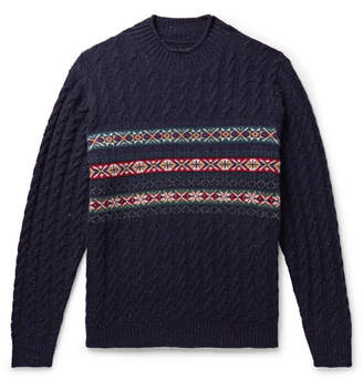 Beams Cable-Knit Fair Isle Wool-Blend Sweater
