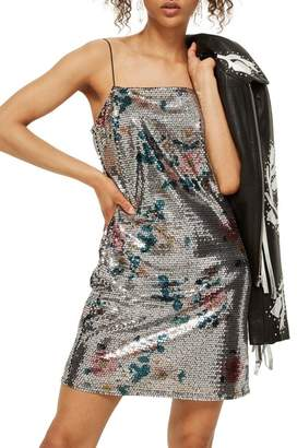 Topshop Flower Sequin Slipdress