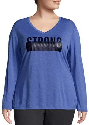 Just My Size Women's Plus Size Cooldri Long Sleeve Graphic V-neck