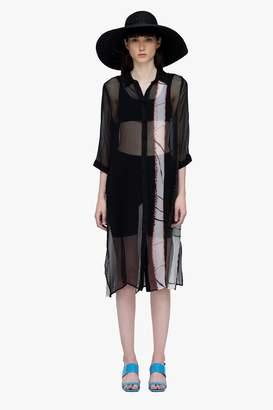 Genuine People Silk Sheer Shirt Dress