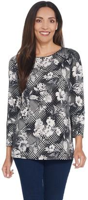 Susan Graver Printed Liquid Knit Raglan-Sleeve Tunic w/ Lace