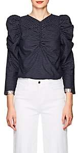 Ulla Johnson Women's Posey Pinstriped Cotton Blouse - Navy