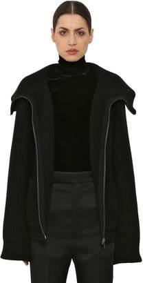 Haider Ackermann Zip-Up Wool & Angora Rib Knit Sweater