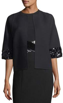 Michael Kors Open-Front Elbow-Sleeve Crepe Wool Jacket w/ Sequin Trim