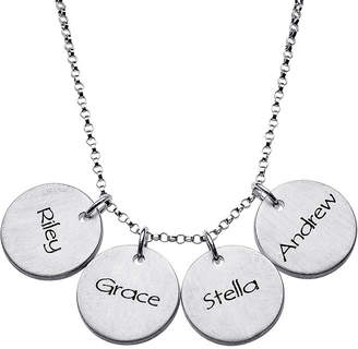 FINE JEWELRY Personalized Sterling Silver Mini Engraved Name Four Disc Pendant Necklace