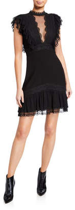 Three floor Extra Illusion Mock-Neck Cap-Sleeve Lace-Trim Dress