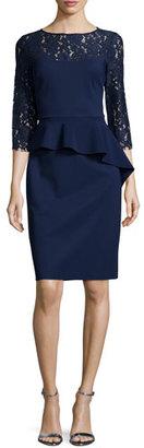 Rickie Freeman for Teri Jon Lace-Sleeve Peplum Cocktail Dress, Navy $460 thestylecure.com