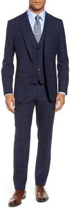 BOSS Huge/Genius Trim Fit Three Piece Windowpane Wool Suit