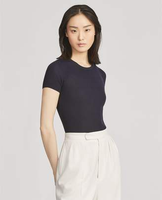 Ralph Lauren Rib-Knit Silk T-Shirt