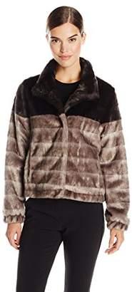 Via Spiga Women's Color Block Faux Fur Jacket
