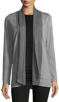 Neiman Marcus Ribbed-Collar Cardigan