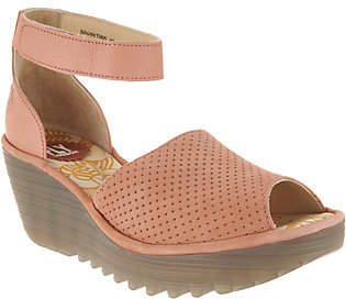 Fly London Perforated Leather Wedge Sandals -Yake