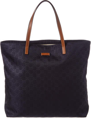 Gucci Navy Nylon & Brown Leather Tote