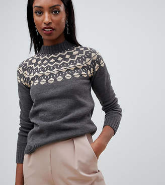 Fashion Union Tall Sweater With Fairisle Placement