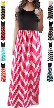 HanDanGe Women's Summer Chevron Striped Print Dress Tank Long Maxi Dresses For Women -M
