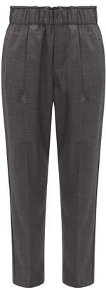 Brunello Cucinelli Cropped Wool Tapered Trousers - Womens - Dark Grey
