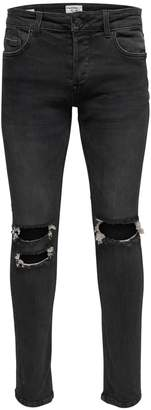 ONLY & SONS Distressed Skinny Jeans