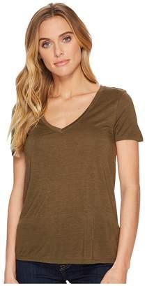 Three Dots Vintage Jersey V-Neck Tee Women's T Shirt