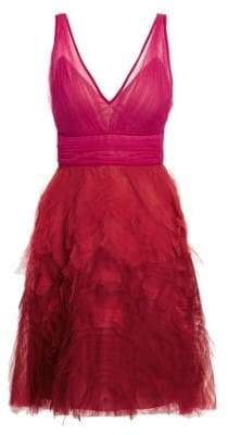 Marchesa Fit-&-Flare Tulle Cocktail Dress