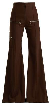 Chloé Wool Blend Flared Trousers - Womens - Dark Brown