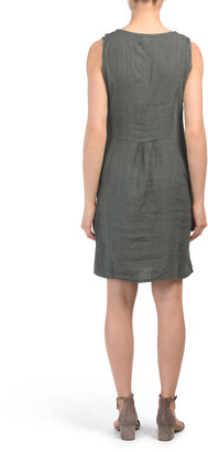 Made In Italy Linen Cowl Neck Palm Soutache Dress