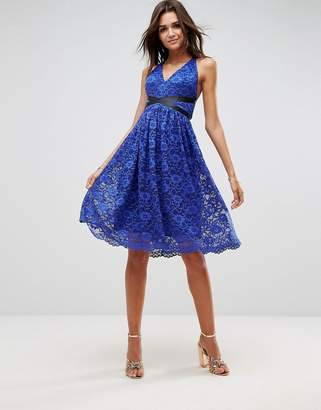 Asos Lace Prom Midi Dress With Ribbon Ties