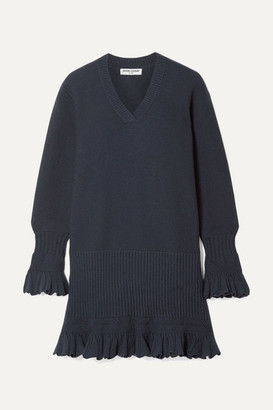 Opening Ceremony Ruffled Pointelle-trimmed Knitted Mini Dress - Navy