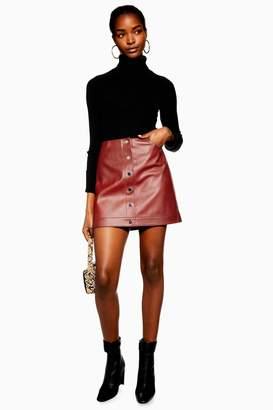 Topshop Womens Popper Pu Mini Skirt - Rust