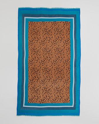 Tory Burch Multicolor-Border Cheetah Scarf, Electric Blue