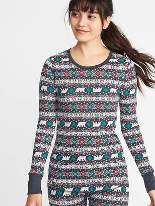 Old Navy Slim-Fit Printed Thermal-Knit Tee for Women