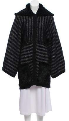 Sonia Rykiel Fur-Trimmed Oversize Mohair Cardigan