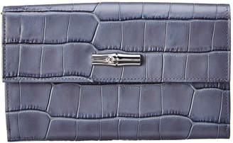 Longchamp Roseau Croco Embossed Leather Continental Wallet