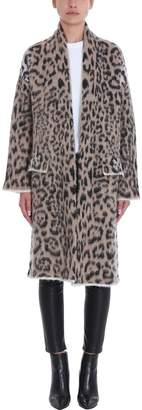 Laneus Leopard Wool Mohair Coat