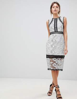 Forever New Lace Pencil Dress In Mono