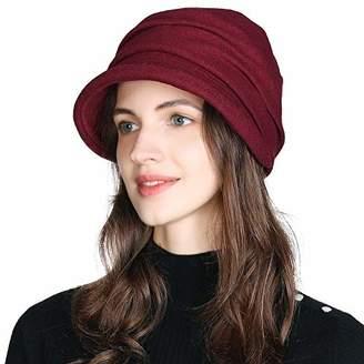 Cloche Jeff & Aimy Womens Wool Felt Vintage Bucket Hat 1920s Stylish Visor Fedora Bowler Hat Winter Autumn Newsboy Cabbie Peaked Beret Fashion Adjustable Khaki 55-58CM