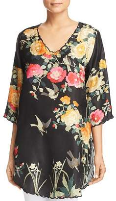 Johnny Was Collection Charlotte Rose Scalloped Silk Tunic