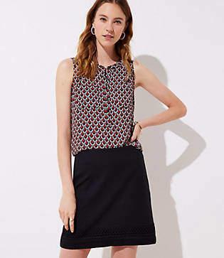 LOFT Petite Embroidered Hem Shift Skirt