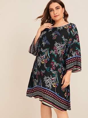Shein Plus Plants & Aztec Print Dress