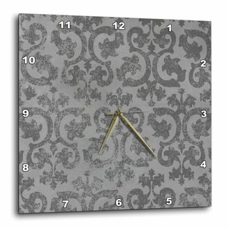 3dRose Grunge gray damask - silver grey faded antique vintage swirls - wallpaper fancy swirling pattern, Wall Clock, 13 by 13-inch