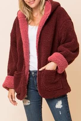 Love Tree Burgundy-Red-Coral Hooded-Jacket